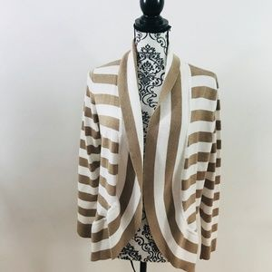 Verve Ami Striped Open Front Cardigan Size L